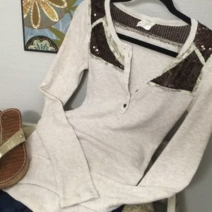 New Free People Thermal Henley Sequins Mix Buttons